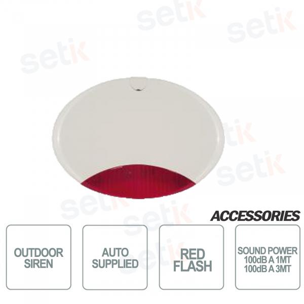 Sirena da esterno autoalimentata scocca bianca lampeggiante Rosso - AMC