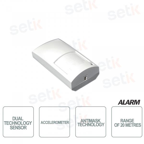 Dual technology sensor - Antimask and accelerometer - Range of 20 meters -