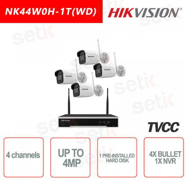 Kit IP NVR WIFI 4 Canali 4MP con HDD Pre installato + 4 Telecamere Bullet da 4MP con 2.8mm ottica fissa