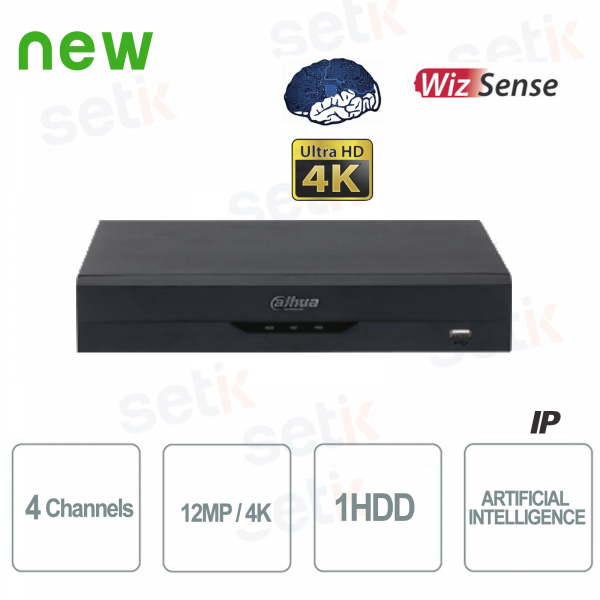 NVR Onvif PoE WizSense 4 Channels H.265 4K Ultra HD - Artificial Intelligence - Up to 12MP 4K - Dahua