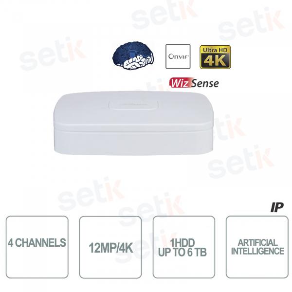 NVR WizSense 4 Canali H.265 4K Ultra HD - Intelligenza Artificiale - Fino a 12 MP 4K - Dahua