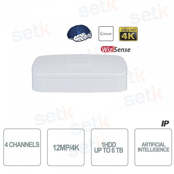 NVR WizSense 4 Channels H.265 4K Ultra HD - Artificial Intelligence - Up to 12 MP 4K - Dahua