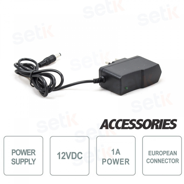 12V 1A power supply for CCTV cameras - EU Socket