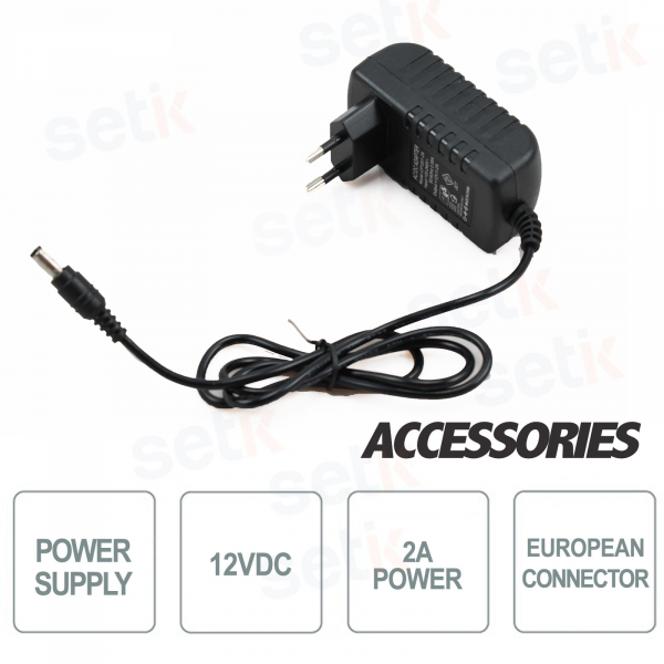 12V 2A POWER SUPPLY - EU PLUG - SUITABLE FOR 1 CCTV CAMERA POWER SOURCE