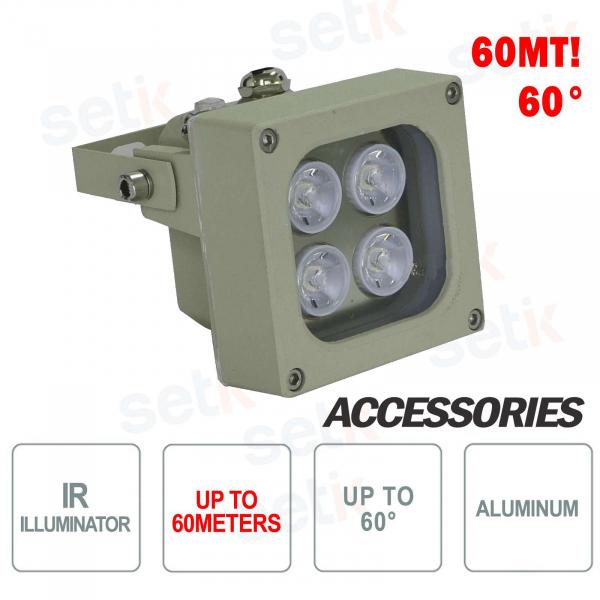 Illuminatore infrarosso per telecamere IR 4 LED 60M 60° - Setik