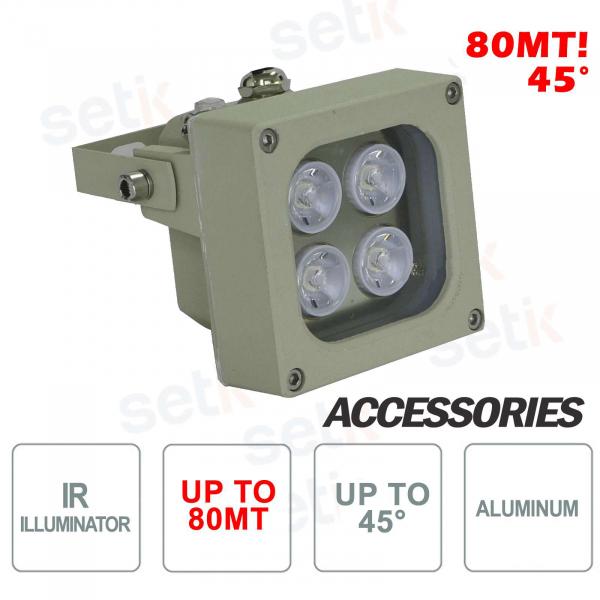 Illuminatore infrarosso per telecamere IR 4 LED 80M 45° - Setik