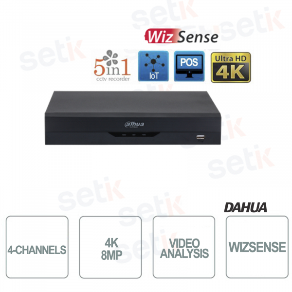 DVR 5in1 H265 4 Channels Ultra HD 4K 8MP WizSense Video Analysis - Dahua