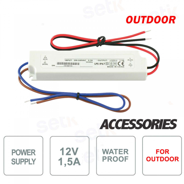 12V 1.5A waterproof outdoor power supply - Setik