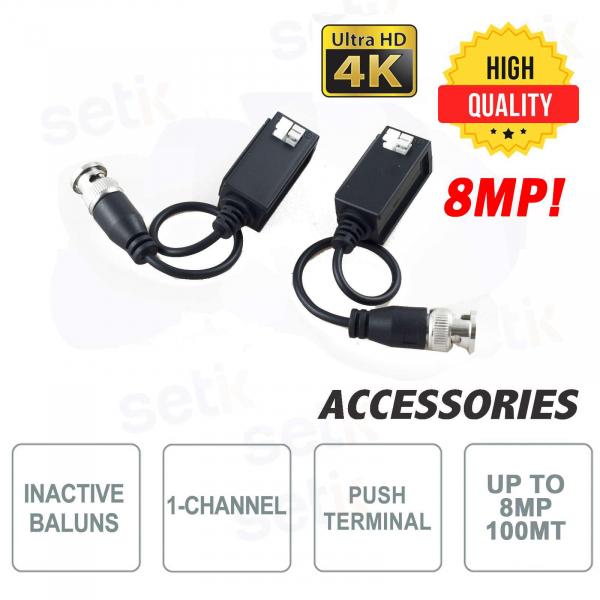 Pair of Passive HQ Video Baluns CVI TVI AHD 4K 8MP - Setik