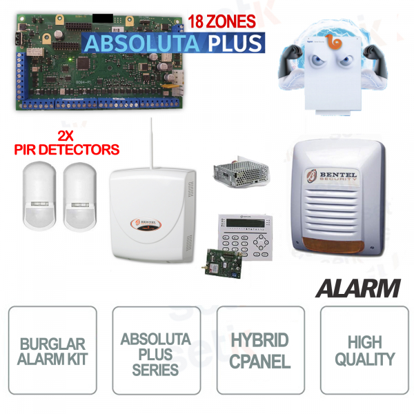 Kit Allarme Casa Bentel Professionale Antifurto Absoluta Plus ABS18 Zone + Sensori Perimetrali