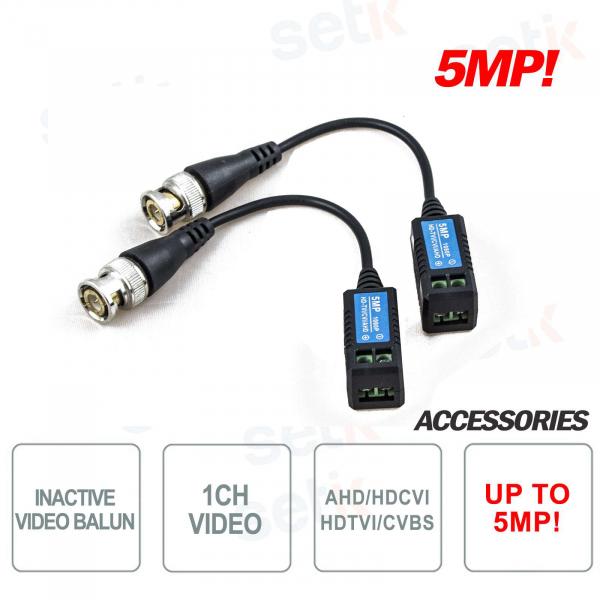 Pair of Passive Video Baluns AHD / CVI / TVI up to 5Megapixel - Setik
