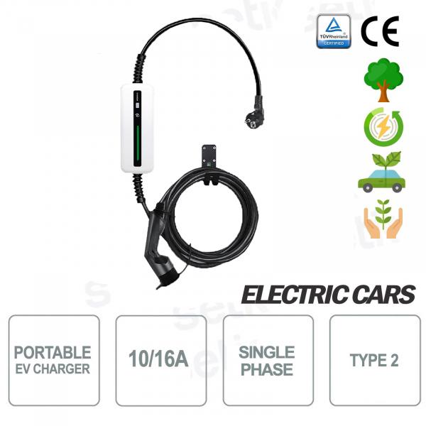EV Caricatore portatile auto elettriche tipo 2 Monofase 16A Shuko 5MT Bianco - Setik