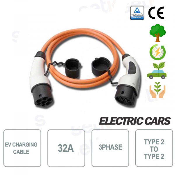 EV Type 2 to type 2 32A three-phase electric car charging cable