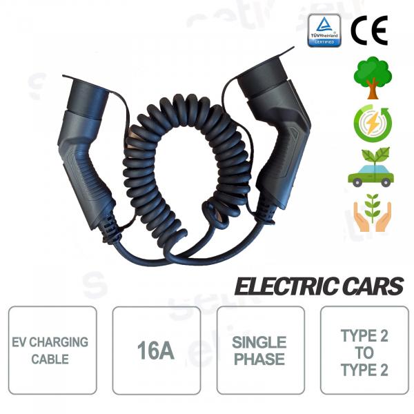 EV Cavo di ricarica auto elettriche da tipo 2 a tipo 2 16A Monofase