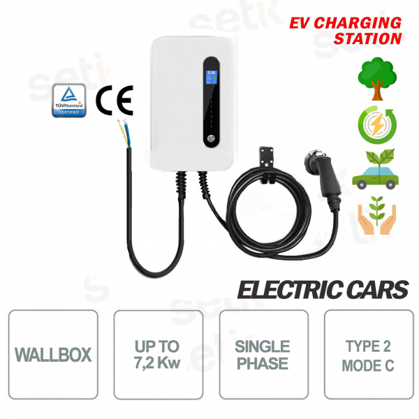 WallBox EV Estación de carga Coches eléctricos LCD Monofásico 32A 7.2Kw Cable