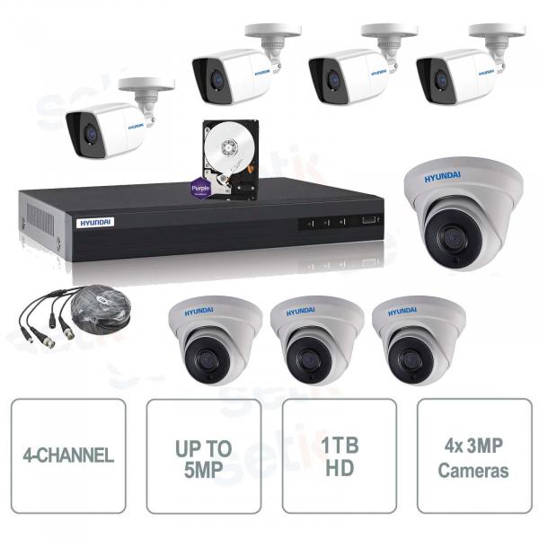 Kit Videosorveglianza 8 Canali Ibrido 4M-N + Cam MP + HD - Hyundai