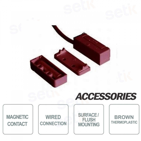 Magnetic Contact for Recessed or Exposed Thermoplastic Brown 4m -