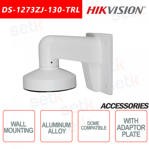 Aluminum Alloy Wall Mount Bracket for Dome Cameras with Adapter Plate - HIKVISION