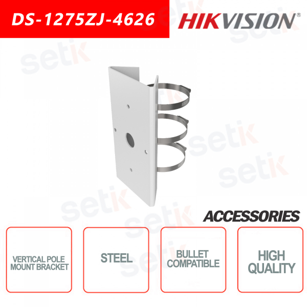 Hikvision vertical support for pole mounting - Suitable for bullet cameras - Load capacity 10KG