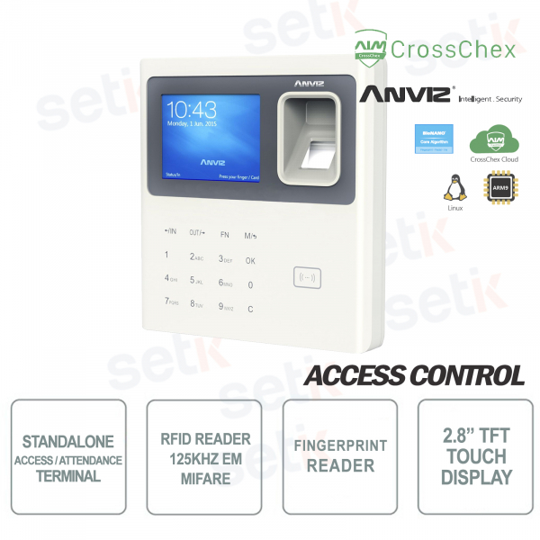 Biometric Reader Standalone Time & Attendance RFID Fingerprints Anviz Keyboard