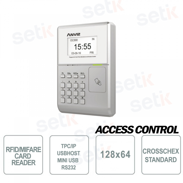 RFID Access and Presence Control Terminal MIFARE EM 128x64 Display OC500 Anviz
