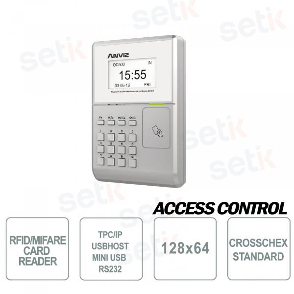 Terminale Controllo Accessi e Presenze RFID MIFARE EM Display 128x64 OC500 Anviz