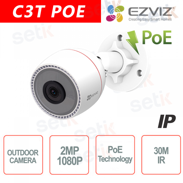 C3T POE Ezviz Outdoor IP Camera PoE FHD 1080P 2.8mm IR Audio Hikvision
