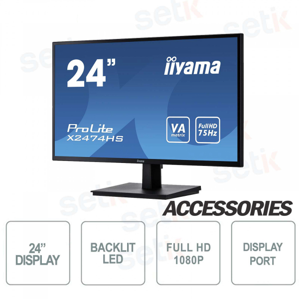 "Monitor ProLite 24"" Full HD VA - Display Port - HDMI - Speaker - Attacco Vesa - IIYAMA"