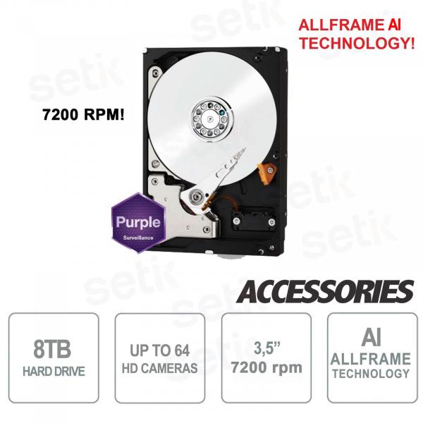 Hard Disk Interno SATA per DVR 8TB 7200 rpm Western Digital