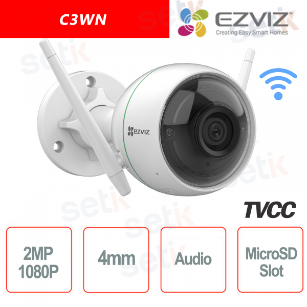 C3WN Ezviz Telecamera IP da esterno WIFI 2 MP 1080P 4mm Cloud MicroSD Audio Hikvision