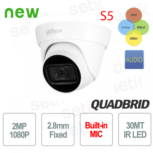 Dahua camera 2 MP 4in1 2.8 mm IR 30 Dome Audio S5