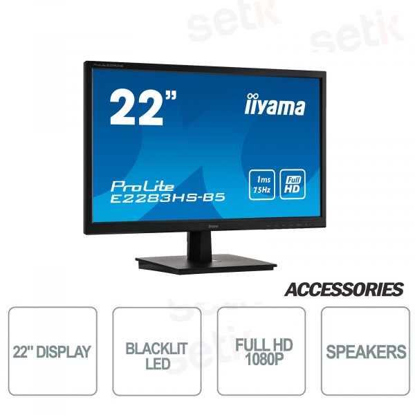 Monitor ProLite 22 Full HD LED 1920x1080 HDMI ACR Overdrive Vesa Speakers IIYAMA