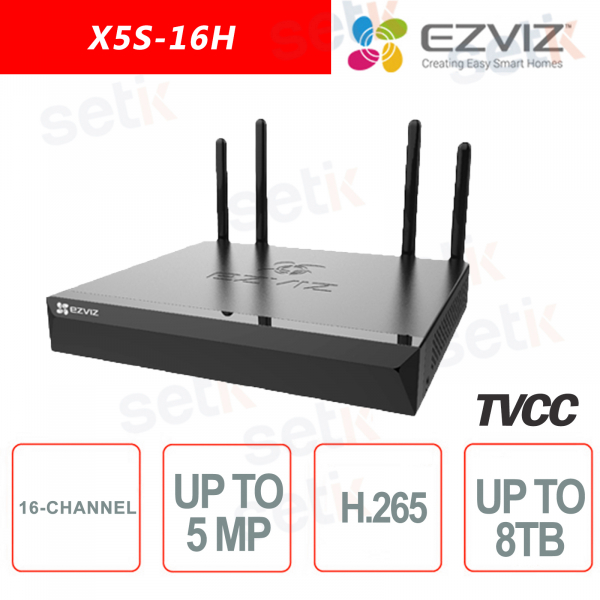Ezviz X5S-16H WiFi NVR IP Video Recorder ONVIF 5 Megapixel 16 Channels 1HDD HDMI H265