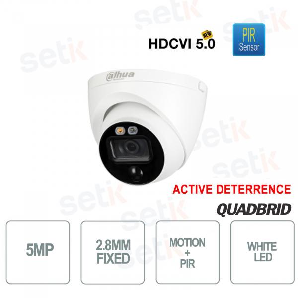 Telecamera HD CVI 5MP 2.8mm PIR Active Deterrence Dome Dahua