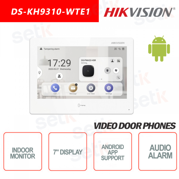 Indoor Station Hikvision 7 Inch Display + MicroSD TF CARD Slot Supports Android Applications