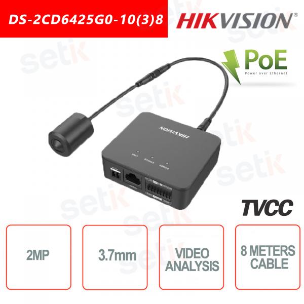 Telecamera Hikvision con ottica esterna 2MP 3.7mm Video analisi Rilevamento Volto - Cavo da 8 Metri