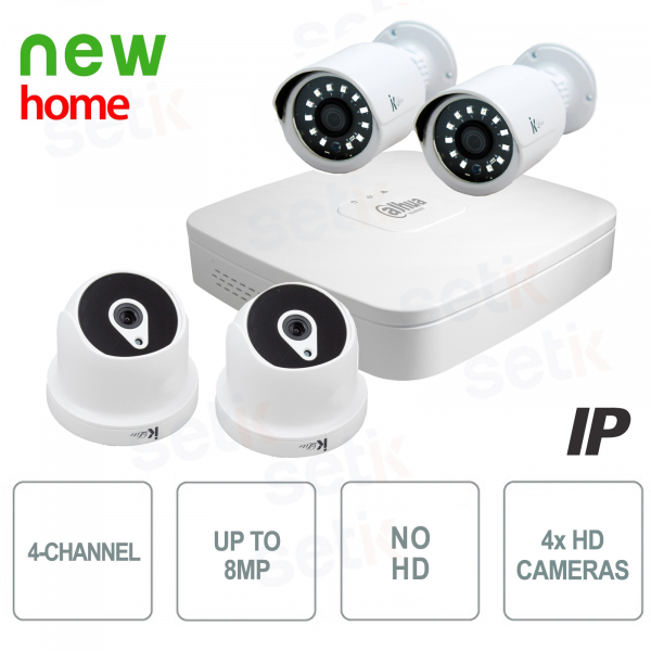 Video surveillance kit 4 channels IP 8MP + HD cameras - Home Dahua