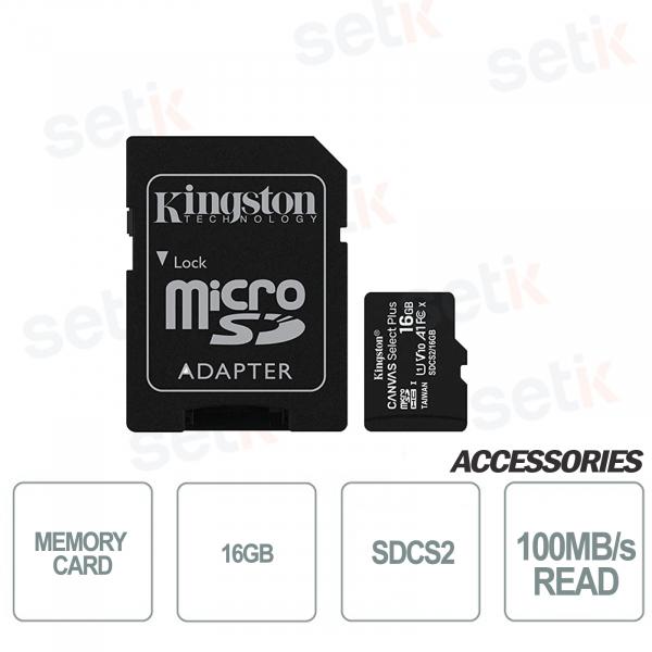 Scheda microSD Canvas Select 16GB Classe 10 SDCS2- Kingston
