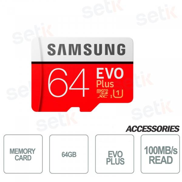 Scheda microSD EVO PLUS 64GB Classe 10 - 100MB/s - Setik