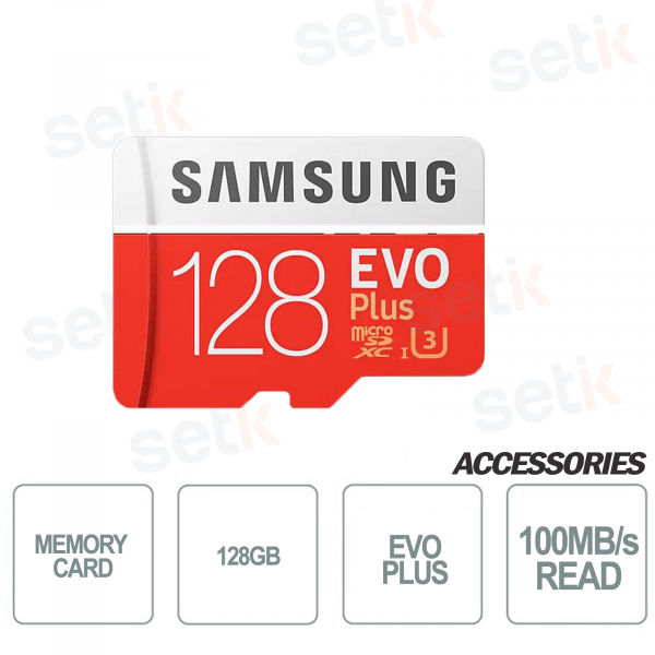 MicroSD card EVO PLUS 128GB Class 10 - 100MB / s - Setik