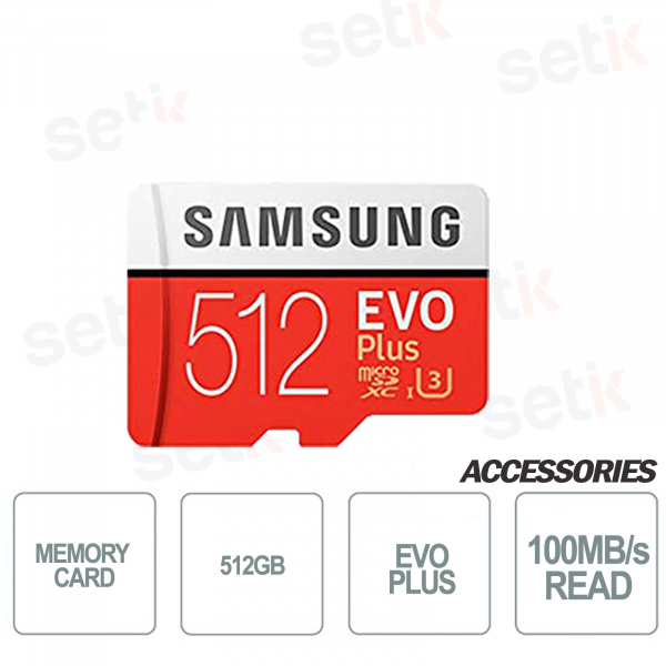 MicroSD card EVO PLUS 512GB Class 10 - 100MB / s - Setik