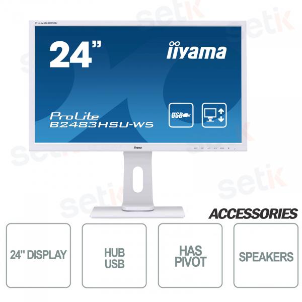 ProLite 24 Full HD Blue Light Flicker Free Speaker Monitor and IIYAMA White Headphones