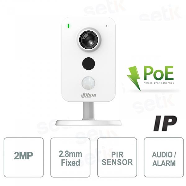 Telecamera IP PoE Dahua 2 MPX 2.8mm H.265 IR Audio MicroSD Allarme Sensore PIR da interno