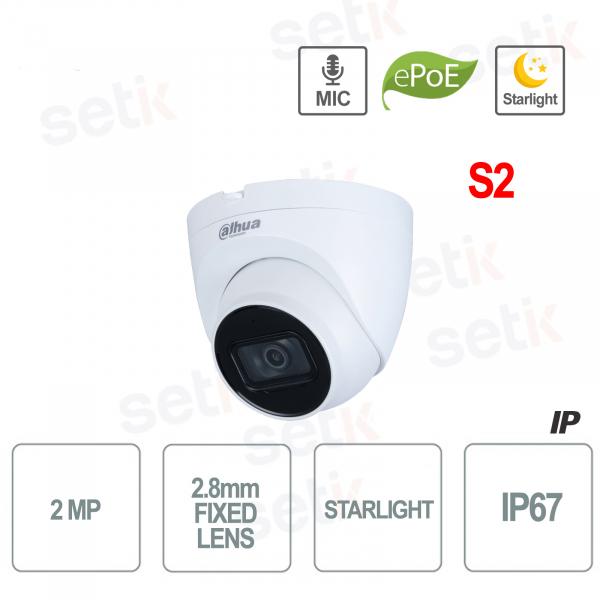 Telecamera IP 1080P Starlight H.265 STARLIGHT PoE Micorofono Incorporato S2