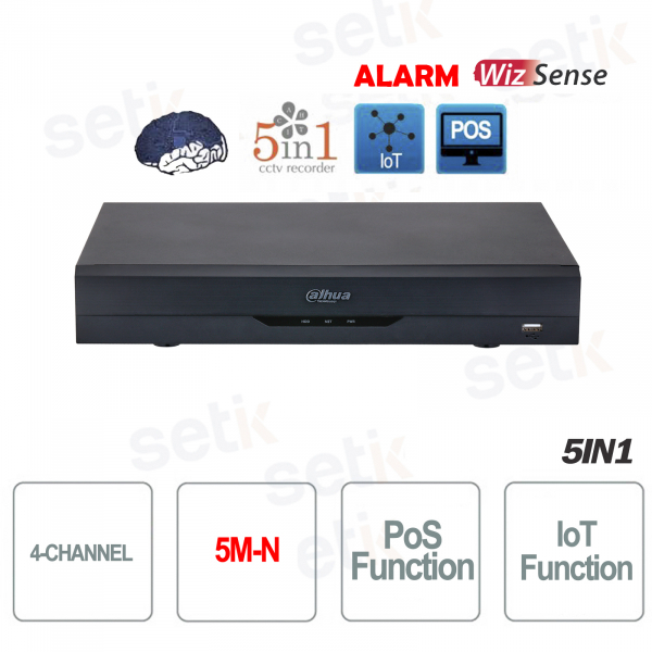 XVR Dahua 4 Channels Hdcvi 5M-N Ahd Tvi Cvbs Ip H.265 Wizsense Alarm AI IVS SMD Plus