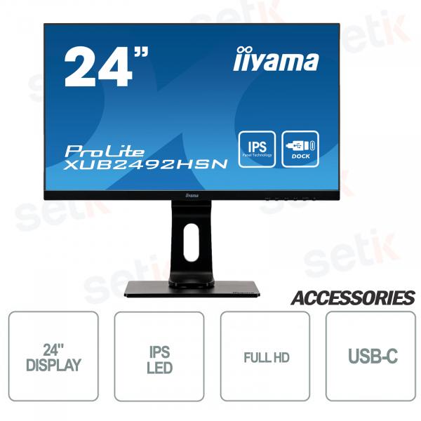 "Monitor ProLite 24"" IPS FULL HD  4ms Flicker Free Speaker - USB-C – IIYAMA"