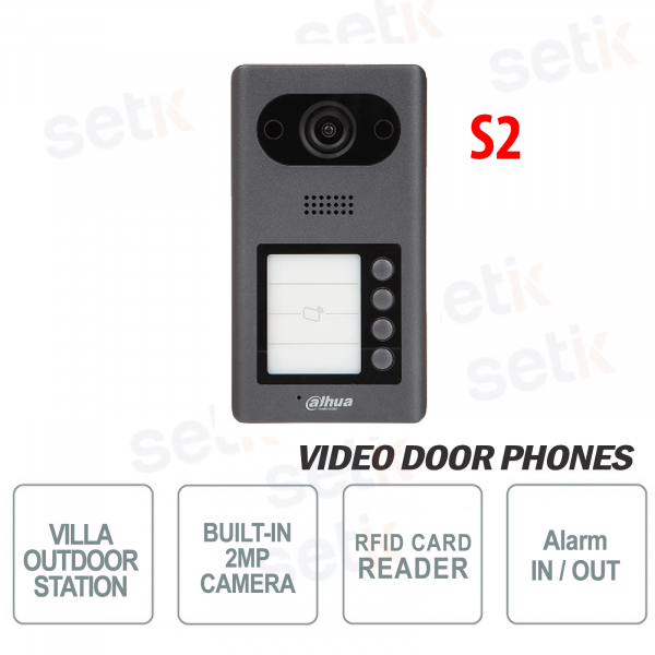 Dahua PoE IP video door phone 2 MP camera, 4 buttons and RFID reader - S2