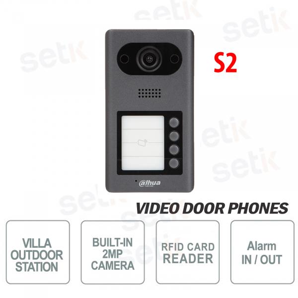 Videocitofono IP PoE Dahua Telecamera 2 MP, 4 pulsanti e Lettore RFID - S2