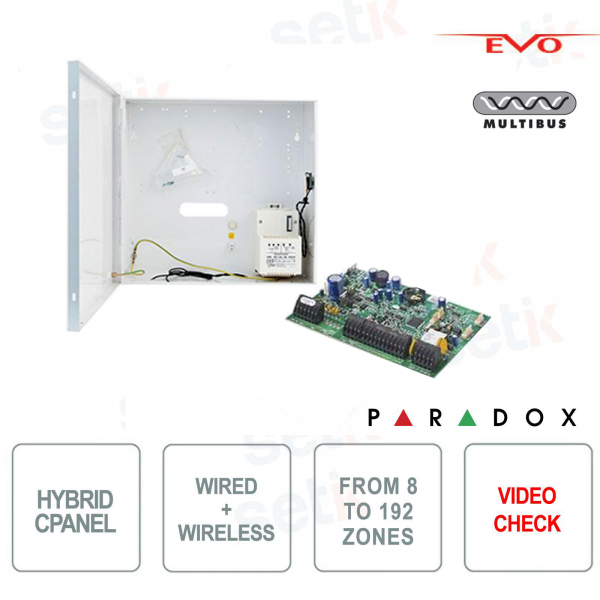 Paradox EVOHD Hybrid 8 Zone Expandable Alarm Control Panel - Video Verification