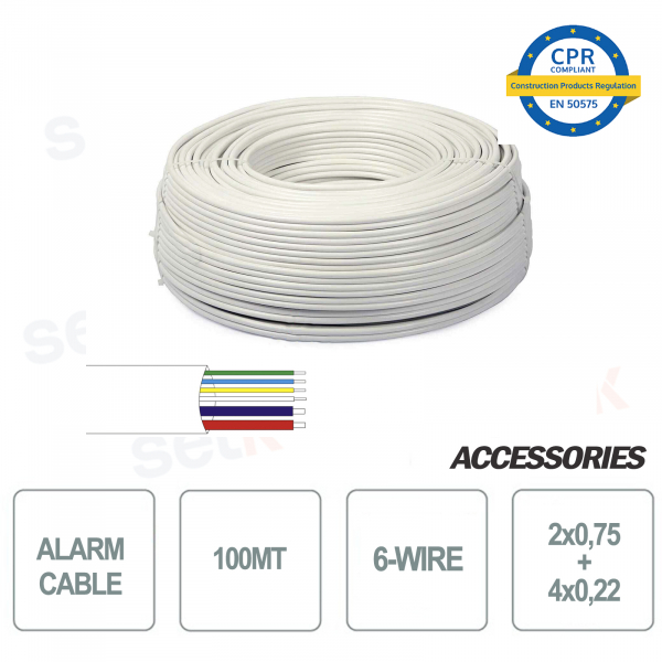 Skein 100 meters alarm cable 6 wires 4 + 2 2x0 75 4x0 22 for installation and security systems